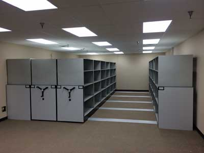 General bulk office storage on deckless rail system